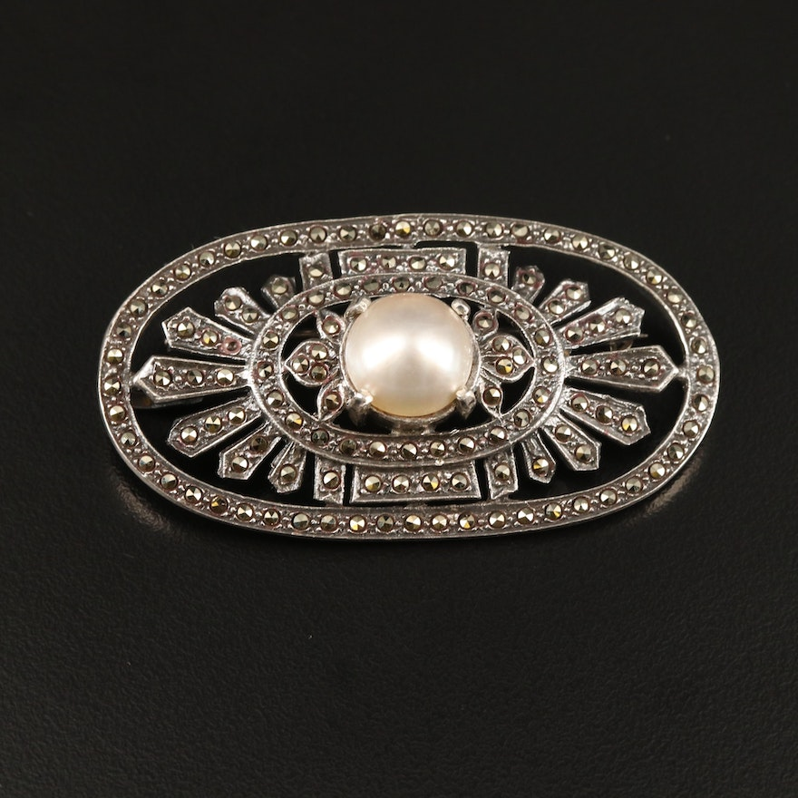 Sterling Silver Pearl and Marcasite Brooch