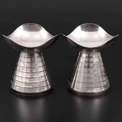 Hans Jensen Danish Modern Silver Plate Candle Holders