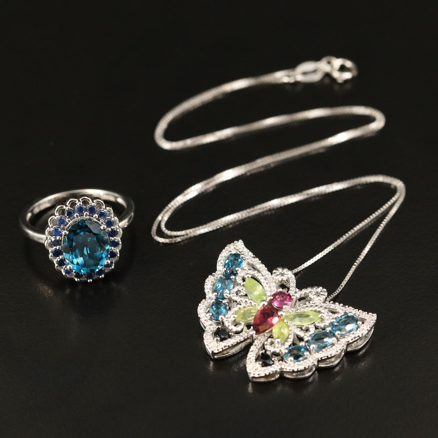 Sterling Butterfly Pendant Necklace and Scallop Ring with Topaz and Garnet