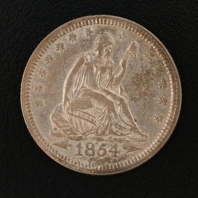 "1854 Seated Liberty ""Arrows, No Rays"" Silver Half Dollar"