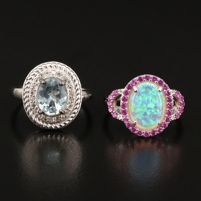Sterling Silver Rings with Aquamarine, Opal and Ruby
