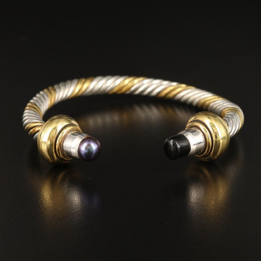 Sterling Silver Pearl and Faux Black Onyx Cable Cuff