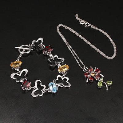 Italian Sterling Gemstone Flower Necklace and Butterfly Link Bracelet