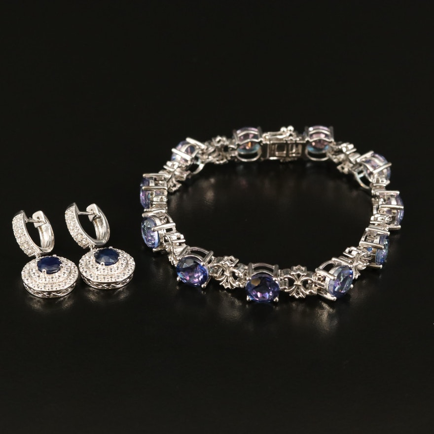Sterling Sapphire and Zirconi Bracelet and Earrings