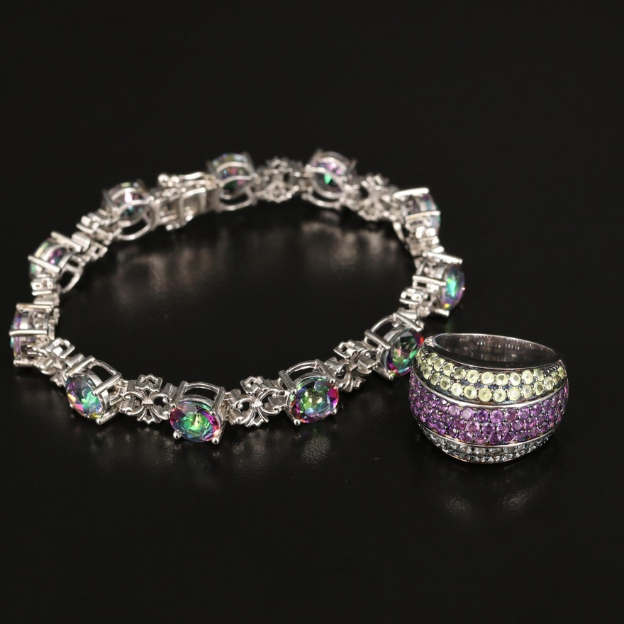 Sterling Mystic Topaz Link Bracelet with Gemstone Ring
