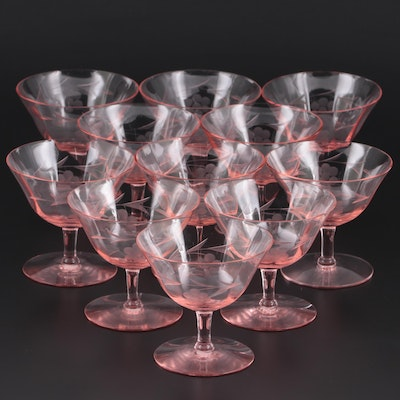 Etched Pink Depression Glass Coupes, Mid-20th Century