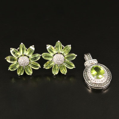 Sterling Flower Button Earrings and Double Halo Pendant with Peridot and Diamond