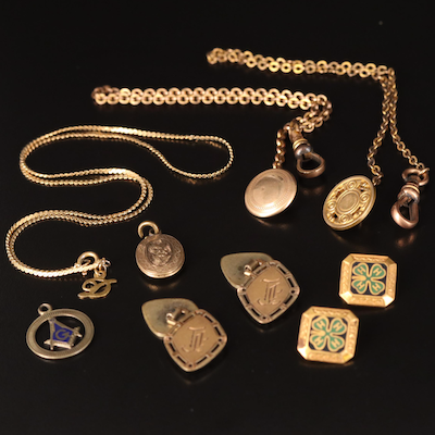 Antique Jewelry Including Watch Chains, 4-H Pins and 14K Masonic Pendant