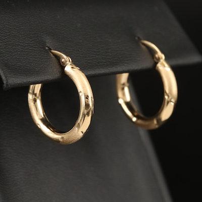 14K Hoop Earrings with Matte Finish