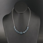 Sterling Silver London Blue Topaz Necklace with Floral Design