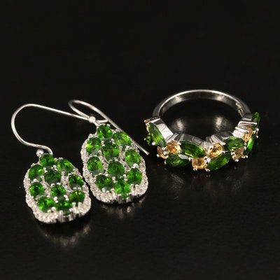 Sterling Diopside and Citrine Ring and Earrings