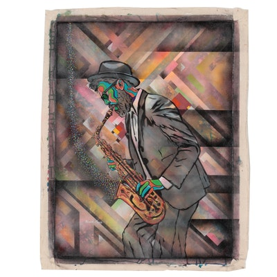 Ricardo Maya Acrylic Painting of Musician