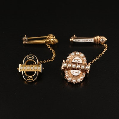 Beta Sigma Phi Sorority Pins Featuring 10K Gold, Pearls and Topaz
