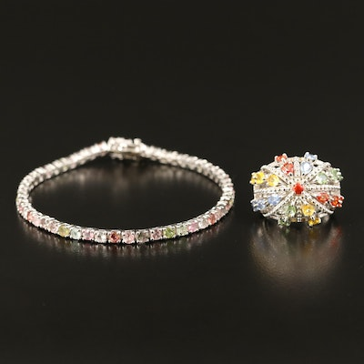 Sterling Bombé Ring and Bracelet Including Tourmaline and Sapphire