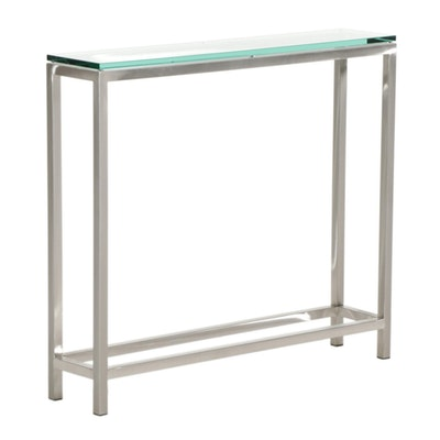 Contemporary Metal and Glass Top Console Table