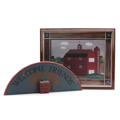Folk Art Style Offset Lithograph of Barn and Painted Wood Welcome Sign