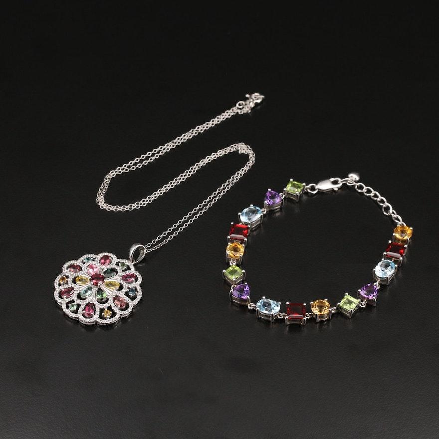 Sterling Gemstone Link Bracelet and Medallion Necklace