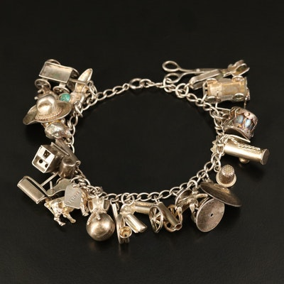 Vintage Sterling Charm Bracelet with Turquoise and Enamel Accents