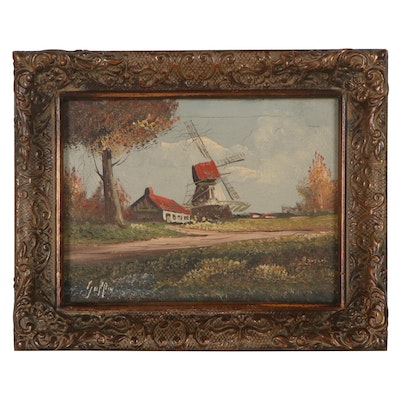 Oil Painting of Dutch Windmill, Late 19th-Early 20th Century