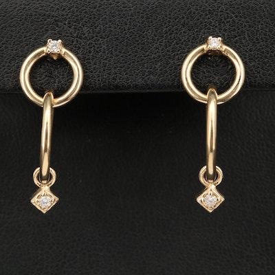 14K Diamond Circular Earrings