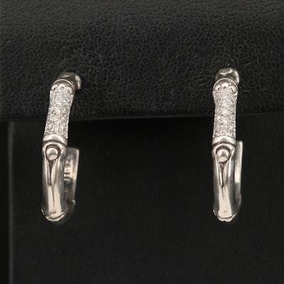 John Hardy Sterling Silver Diamond Bamboo Style Hoop Earrings