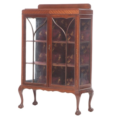 Chippendale Style Walnut Display Cabinet, Early to Mid 20th Century