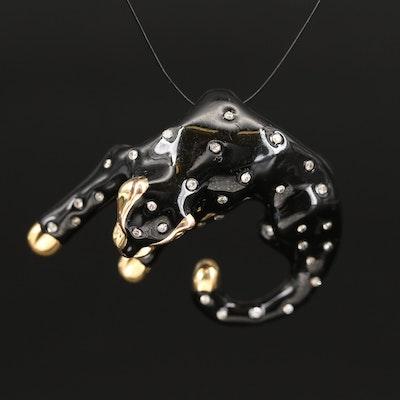 14K Diamond Panther Slide Pendant