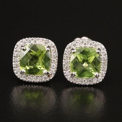 14K Peridot and Diamond Earrings