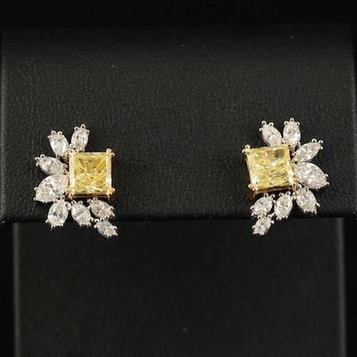 18K 3.86 CTW Diamond Earrings with GIA Reports