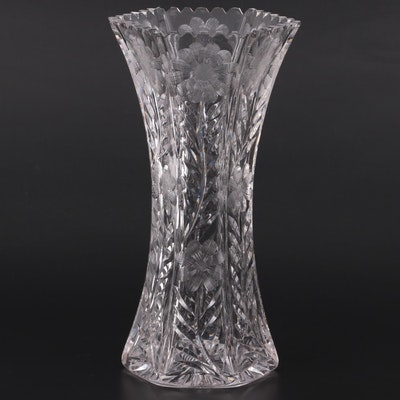Floral Motif Etched Crystal Vase