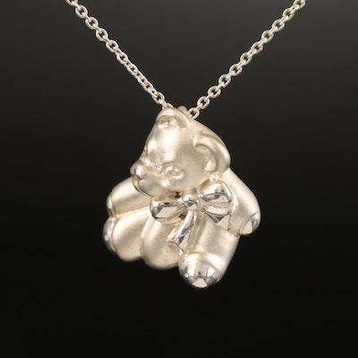 Tiffany & Co. Sterling Silver Teddy Bear Pendant Necklace