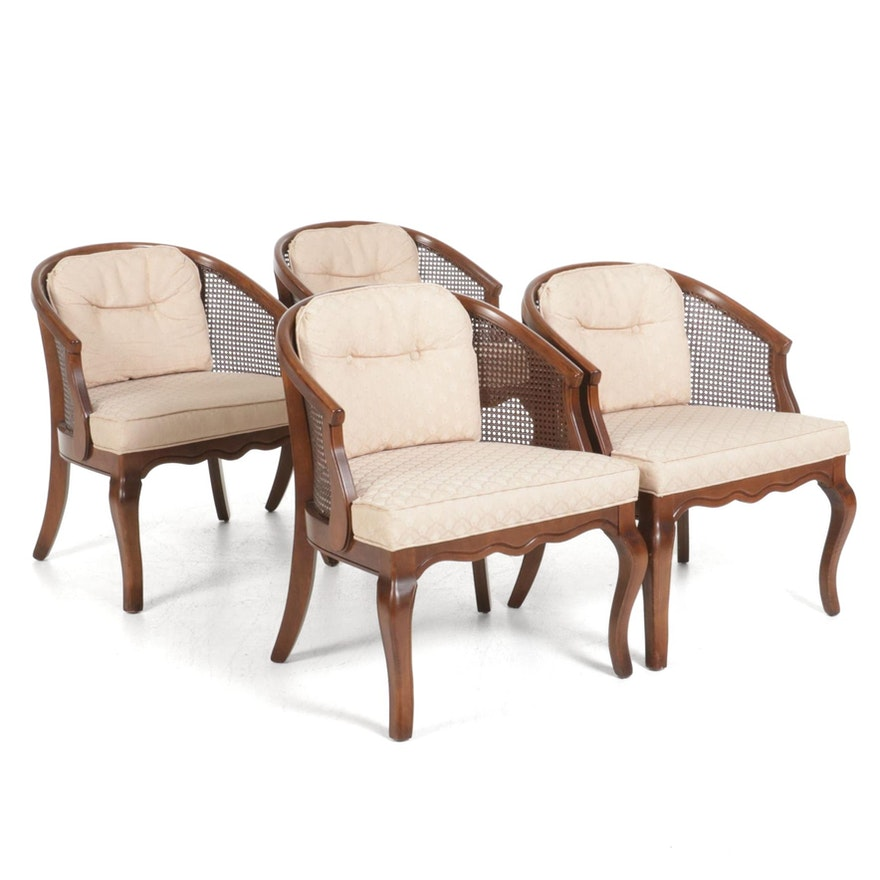 Four Louis XV Style Caned Back Bergères, Mid to Late 20th Century