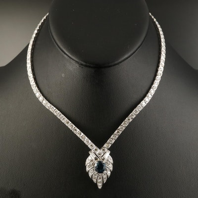 Platinum 3.21 CT Sapphire and 10.42 CTW Diamond Necklace with GIA Report