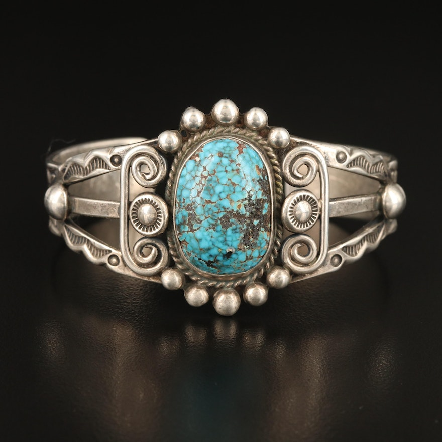 Morris Robinson Hopi Sterling Turquoise Cuff