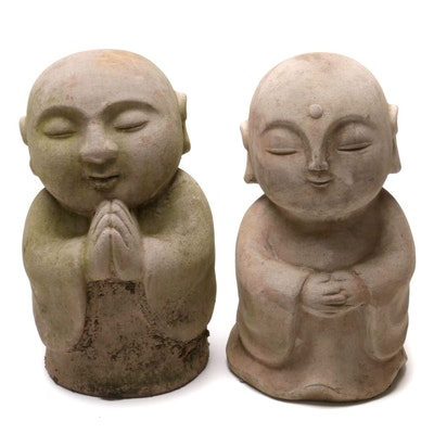 Praying and Meditating Buddha Stoneware Outdoor Garden Statues