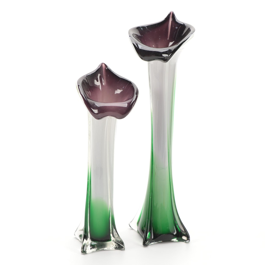 Pair of Handblown Art Glass Jack-in-the-Pulpit Vases