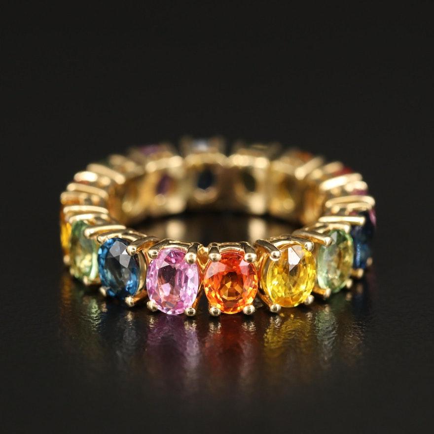 18K Multicolored Sapphire Eternity Band