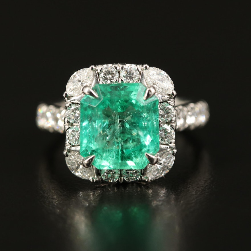 Platinum 3.45 CT Colombian Emerald and 1.46 CTW Diamond Ring with GIA Report