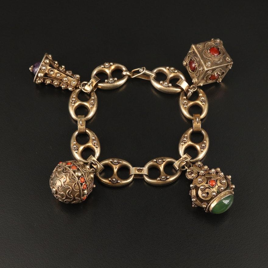1930s Etruscan Revival Sterling Cannetille and Gemstone Fob Charm Bracelet