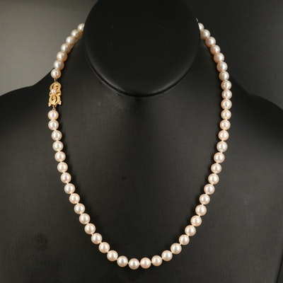 Mikimoto Pearl Strand Necklace with 18K Clasp