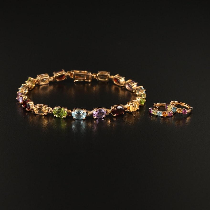 Sterling Huggie Earrings with Bracelet Including Amethyst, Topaz and Garnet