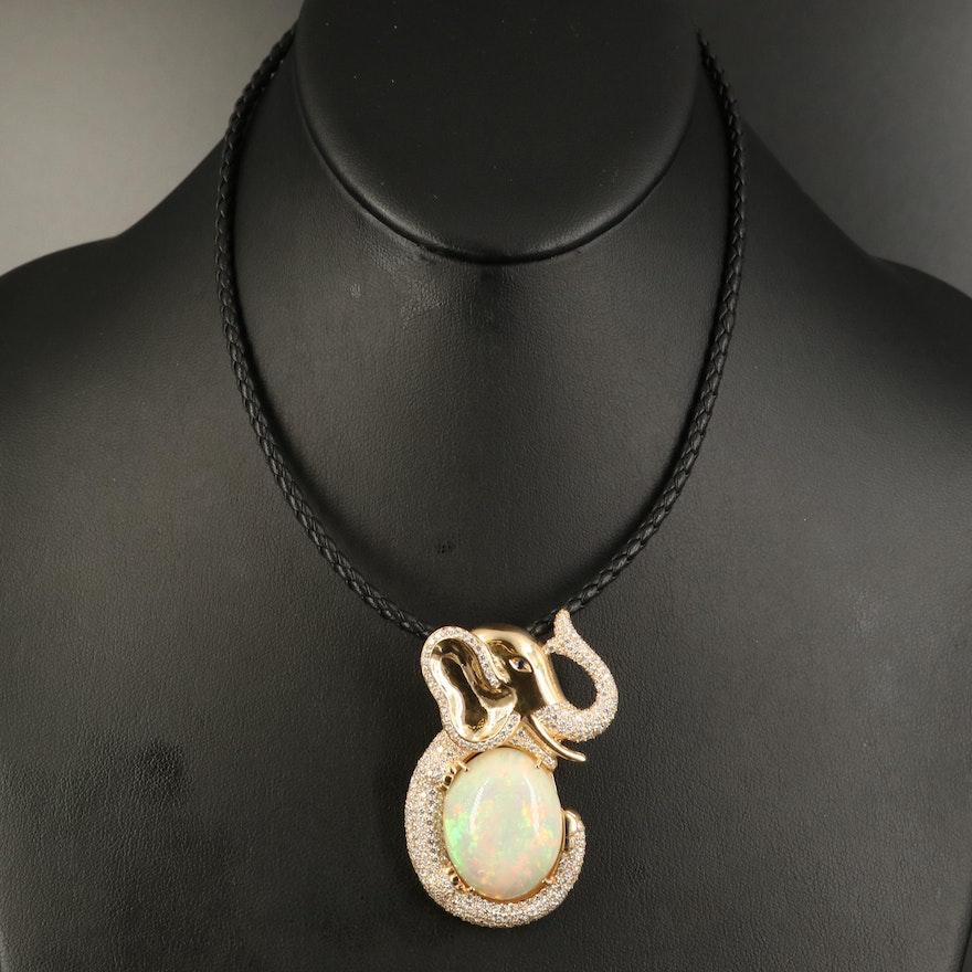 18K 34.98 CT Opal and 4.45 CTW Diamond Elephant Pendant Necklace