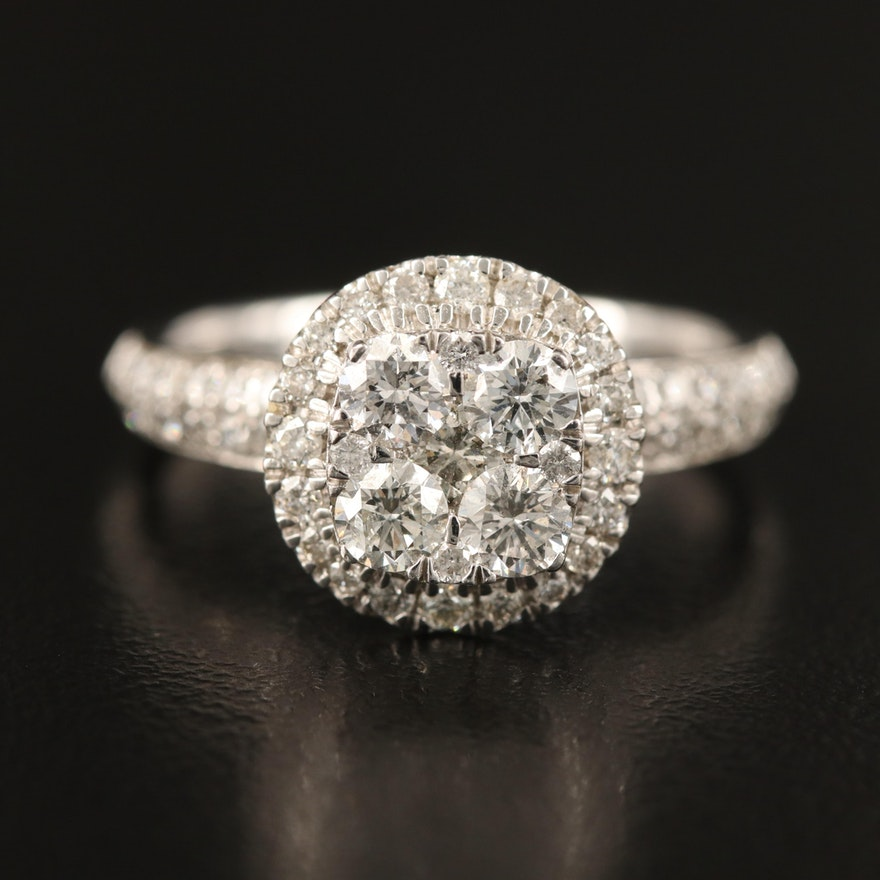 14K 1.61 CTW Pavé Diamond Ring