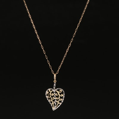 10K Filigree Heart Pendant Necklace