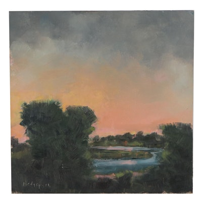Stephen Hedgepeth Oil Painting of Sunset on the River, 21st Century