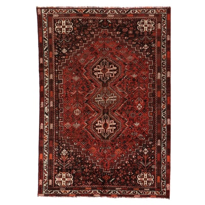 6'8 x 10' Hand-Knotted Persian Shiraz Qashqai Area Rug