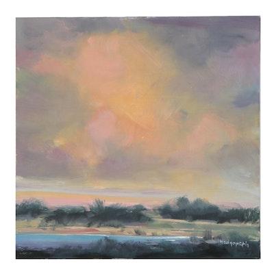 Stephen Hedgepeth Landscape Oil Painting of River Plain at Sunset