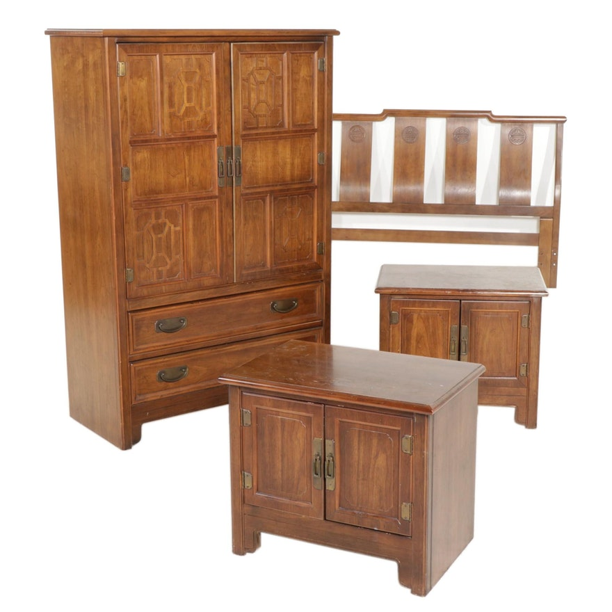 Four-Piece Bernhardt Furniture Chinese Style Bedroom Set, Late 20th Century