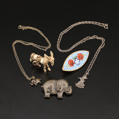 Jewelry Including Sterling Goebel M.I. Hummel Club Necklace and Micromosaic