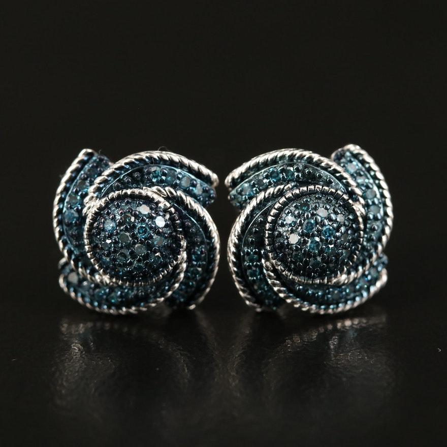 Sterling Diamond Spiral Stud Earrings